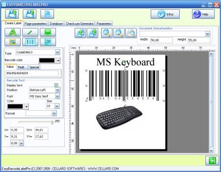 Barcode label design software to print labels with barcodes, images ...